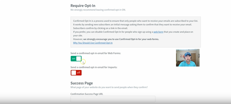 send a confirmed optin email for web forms