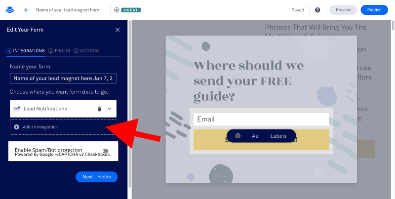 integrate aweber and leadpages - 4