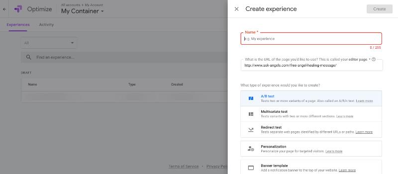AB Testing - google optimize